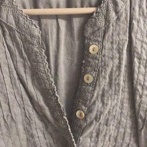 Tops - LOGG H&M Dim Gray Long Sleeve Button Blouse 6